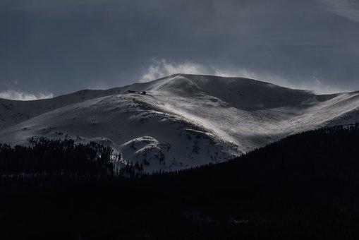 Mountain, Highland, Dark, Cloud, Sky, Summit, Ridge