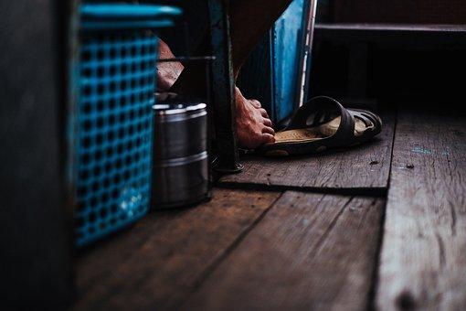 Wooden, Floor, Laundry, Basket, Slippers