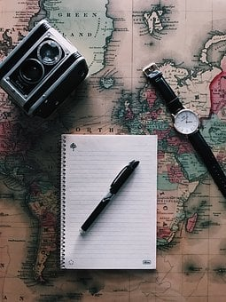 Global, Map, Geography, Travel, Notebook, Write, Pen