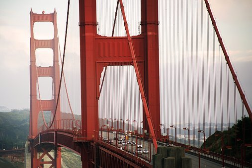 Golden Gate, Bridge, Infrastructure, Mountain, View
