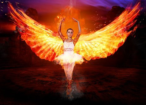 Angel, Fire, Woman, Mystical, Figure, Atmosphere, Wing