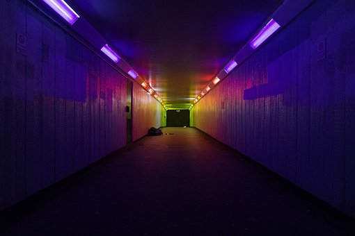Lights, Road, Tunnel, Night