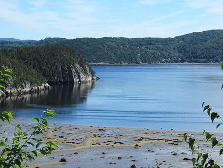 Saguenay, Tide Low, Fjord, River, Mountain, Nature