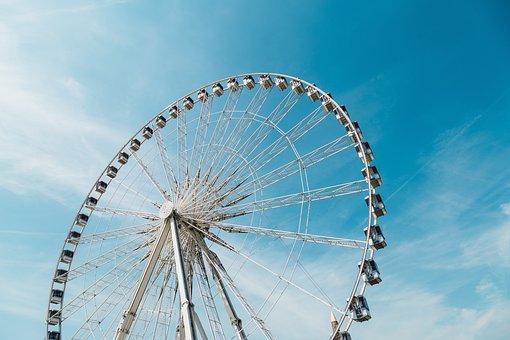 Ferris Wheel, Blue, Sky, Amusement, Park, Ride