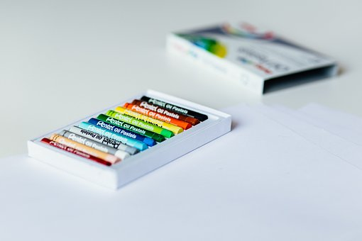 Crayons, Color, Colorful, Art, Box, White, Table
