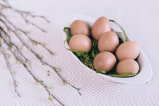 Flowers, Table, Plate, Eggs