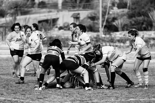 People, Team, Group, Athletes, Black And White