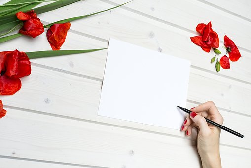 Lifestyle, Work, Paper, Pencil, Red, Flowers, Desk