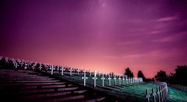 France, Military, Cemetery, Graveyard, Headstones, Sky