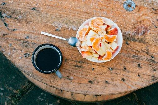 Wood, Table, Outside, Food, Fruits, Apple, Orange