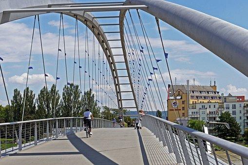 Three Countries Bridge, Rhine, Cycle Path, Walk