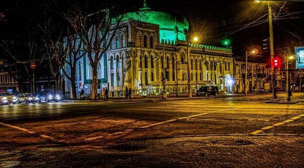 Odessa, Evening, Mosque, Crossroads, Road, Machinery