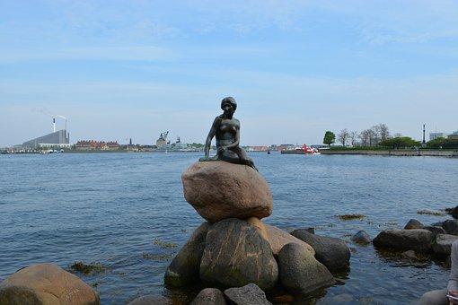 Landmark, Little Mermaid, Denmark, Sea, Stones, Water