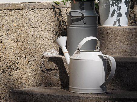 Pot, Watering Can, White, Garden, Vessel, Old, Metal