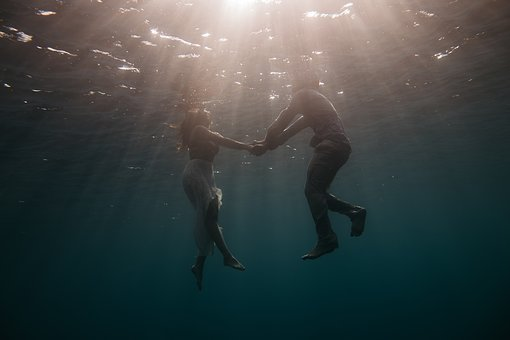People, Man, Woman, Holding Hands, Swimming, Underwater
