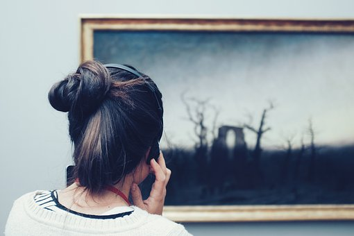 People, Woman, Girl, Headphone, Frame, Wall, Blue Wall