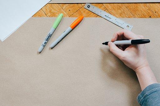 Pen, Color, Write, Draw, Board, Ruler, Art, Hand