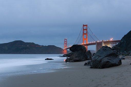 Golden Gate, Bridge, Infrastructure, Sea, Ocean, Water