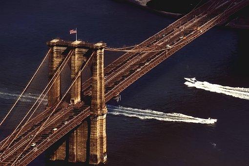Brooklyn Bridge, New York City, Boat, Hudson River