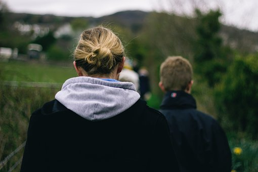 Green, Nature, People, Blond, Bun, Hoodie, Group, Crowd
