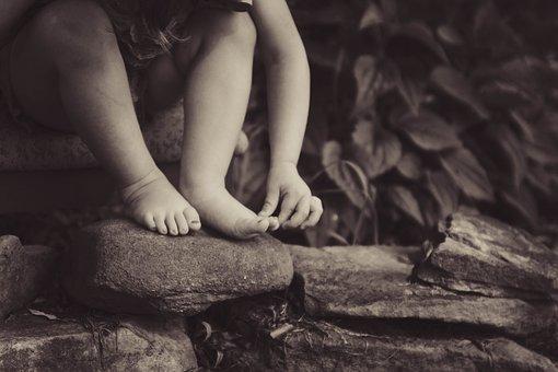 Rocks, People, Kid, Child, Nature, Leaves, Plant, Sepia
