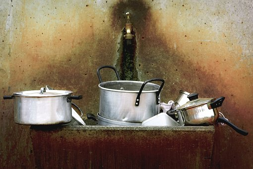 Dirty, Dishes, Kitchenware, Pots, Cooking, Silverware