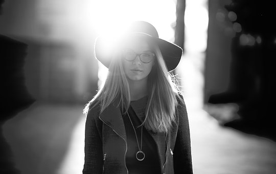 People, Woman, Girl, Lady, Hat, Glasses