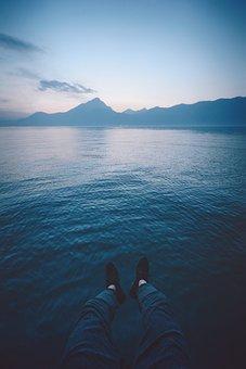 Sea, Ocean, Water, Waves, Nature, Mountain, Dark, Cloud