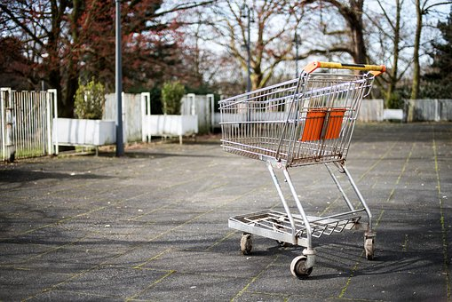 Cart, Grocery, Outdoor, Trees, Gray Grocery