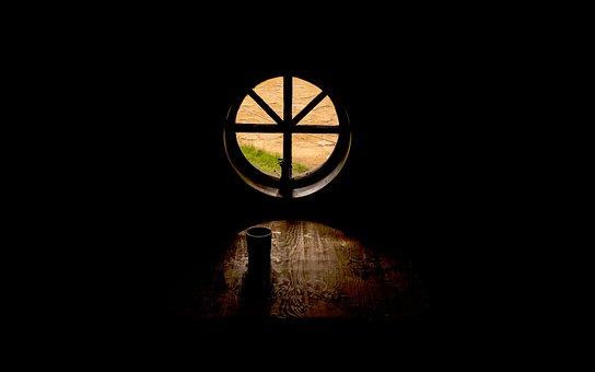 Circle, Window, Dark, Room, Class, Table, Wood