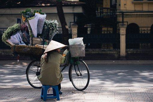 Street, Vendor, Seller, People, Woman, Hat, Sitting