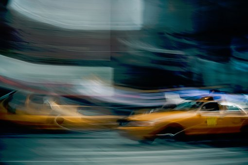Taxi, Cabs, Motion, Blur, Long