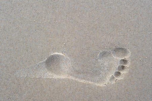 Footprint, Foot, Toes, Sand, Track