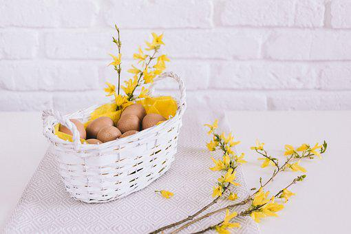 White, Wall, Basket, Yellow, Flowers, Cloth, Eggs