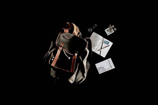 Travel, Bag, Backpack, Notebook, Book, Pennies, Watch
