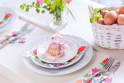 Eggs, Baskets, Plate, Table, Setup, Cutlery, Napkin