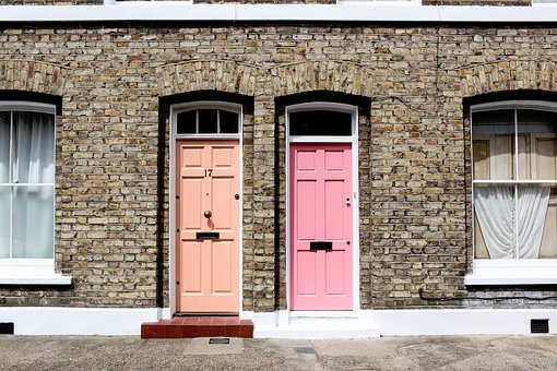 Pastel, Orange, Pink, Doors, Walls, Stones, Bricks