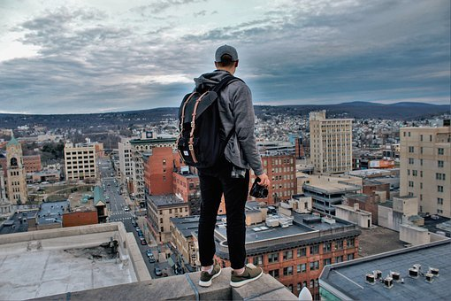 Buildings, City, Rooftop, Edge, Herschel, People, Man