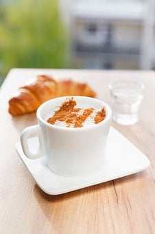 Croissant, Bread, Food, Snack, Coffee, Cafe, Glass, Cup
