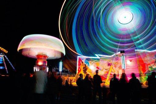 Fun, Carnival, Lights, Ferris, Wheel, Round, Motion