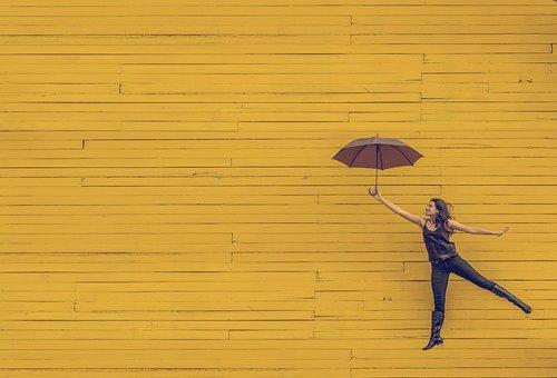 Yellow, Wood, Wall, Umbrella, People, Girl, Lady, Woman