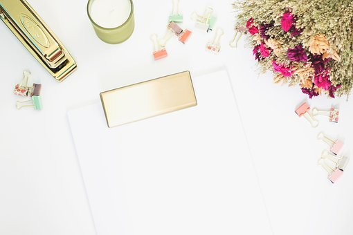 White, Desk, Lifestyle, Clipboard, Flowers, Clips