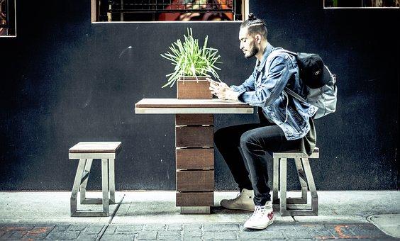 People, Guy, Man, Millenials, Sitting, Texting