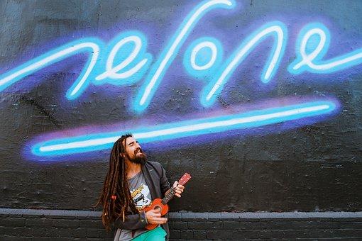 Neon, Light, Night, Wall, People, Man, Rock, Singing
