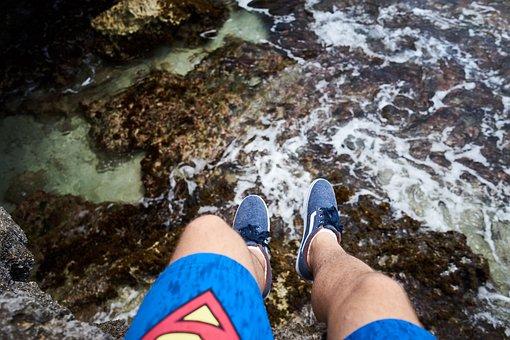 People, Man, Travel, Shoe, Leg, Rocks, Coast, Sea