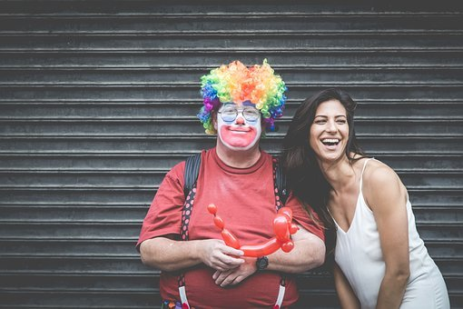 People, Friends, Couple, Smiles, Happy, Clown, Balloons