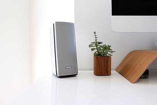 Bose, Speaker, Workspace, Plants, White, Computer