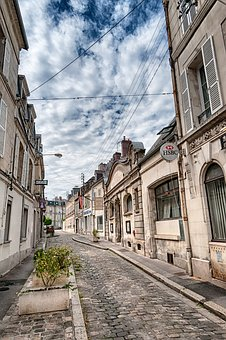 Alley, Soissons, Picardy, France, Old, Hauswand, Facade