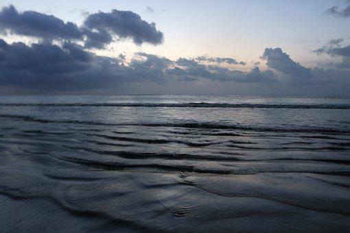Beach, Ocean, Night, Sunset, Calm, Bali, Jimbaran