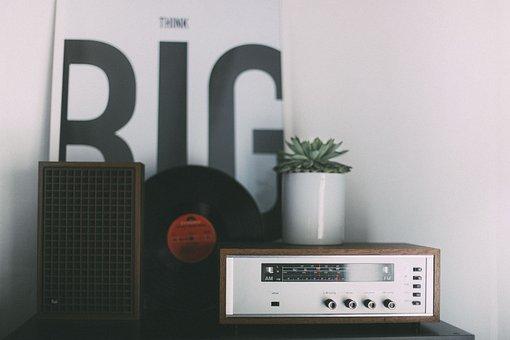 Table, Radio, Plant, Leaves, Green, Vinyl, Album, Cd